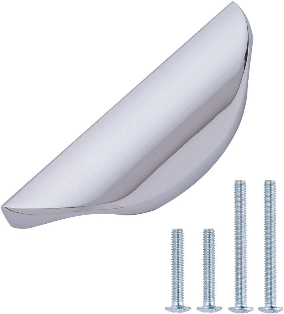 AmazonBasics - Tirador moderno ondulado, para armario, 7,79 cm de longitud (orificio central de 3,2 cm), cromo pulido - paquete de 10