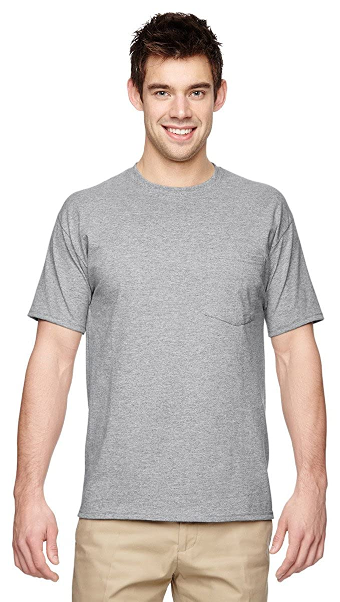 Athletic Heather X4XL Jerzees Mens Heavyweight Left Chest Pocket T-Shirt