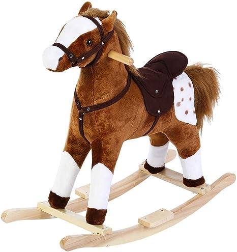 Mecedora de caballo, juguete para niños, asiento para caballos de paseo al aire libre, suave peluche para guardería, balancín de animal, juguete balancín de jardín para niños o bebés marrón marrón: Amazon.es: