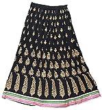 Odishabazaar Womens Pure Cotton Crinkled Printed Long Skirt (Black-4)