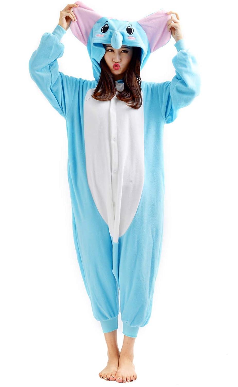 Unisex Animal Pijama Ropa de Dormir Cosplay Kigurumi Onesie Elefante Disfraz para Adulto Entre 1, 40 y 1, 87 m