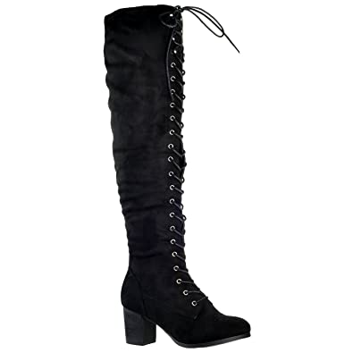 d6e7f69f1fc Generation Y Women Knee High Boots Chunky Block Heel Retro Lace Up Western  Shoes