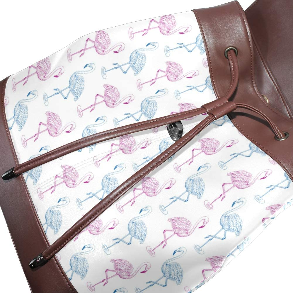 Leather Flamingo Sketch Colorful Backpack Daypack Bag Women