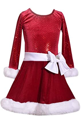 5d98e9638f3b Amazon.com: Bonnie Jean Girls Sequin Large Bow Holiday Christmas ...