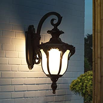 Lámpara de jardín vintage E27 Lámpara de pared aluminio negro Aplique interior exteriores con pantalla de vidrio Luz de pared impermeable IP44 para jardín Balcón Terrazas Gazebo Entrada Villa: Amazon.es: Iluminación