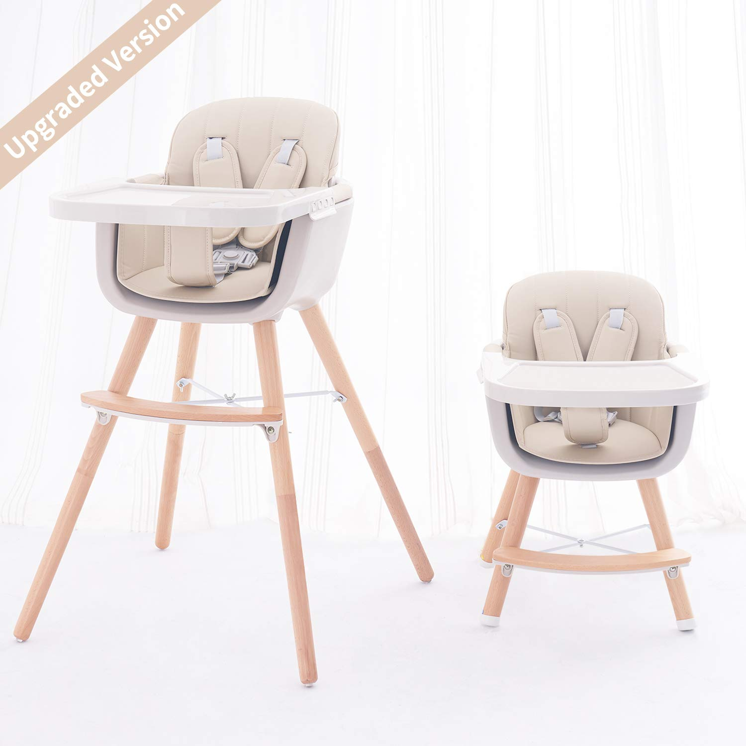 FUNNY SUPPLY 3-in-1 Convertible Wooden High Chair with Removable Tray and Adjustable Legs and Cushion - Cream Color by FUNNY SUPPLY
