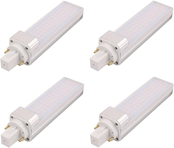 4 Pack LED G24 lámpara fluorescente lámpara G24 de aluminio ...