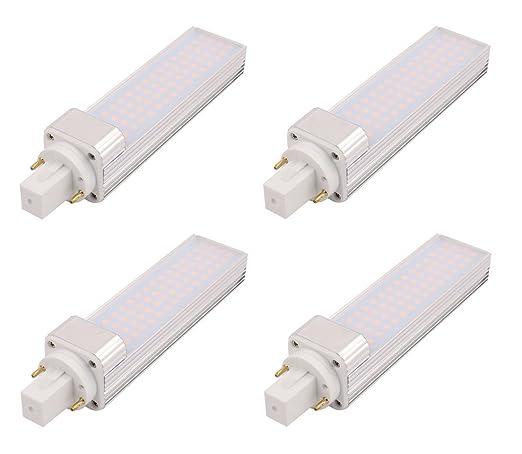 4 X Confezione Lampada LED G24 Lampada Fluorescente Compatta, Ruotabile  Alluminio G24 2 Pin