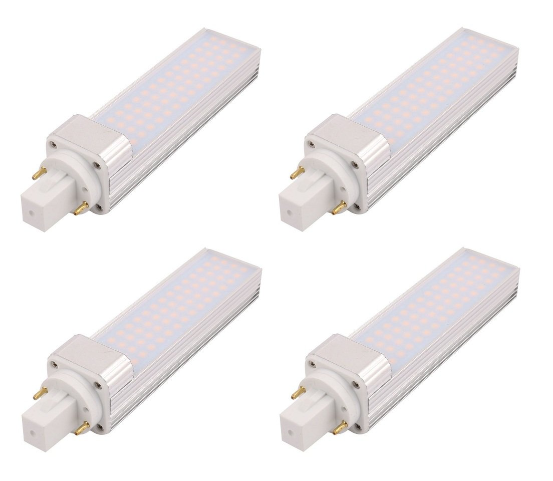 Masonanic 4 Pack LED G24 Compact Fluorescent Lamp Daylight White Rotatable Aluminum Lamp G24 2-Pins LED CFL/Compact Fluorescent Lamp, 13W 1300lm 28W CFL Equivalent,Cool White 6500K,Non-dimmable