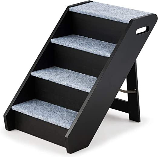Cosway - Escaleras para animales de compañía plegable de madera, 4 peldaños, 41 x 61 x 53 cm, con alfombra de peluche, escalera de mascota, portátil, carga de hasta 36 kg: Amazon.es: Productos para mascotas