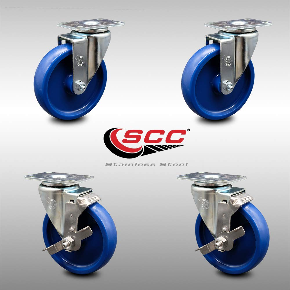 Stainless Steel Solid Polyurethane Swivel Top Plate Caster Set of 4 w//4 x 1.25 Blue Wheels Service Caster Brand 1200 lbs Total Capacity Includes 2 Swivel with Total Locking Brakes /& 2 Swivel