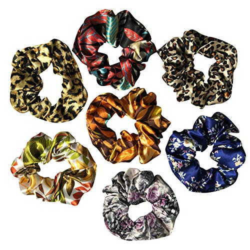 (7 Pack Large Floral or Leopard Print Sleep Satin Hair Scrunchies Bobbles Hair Ties Hair Rope Wrist Scrunchy Hair Bands for Show, Party,Shower or Curly Hair)