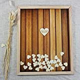 Rustic Wedding Guest Book Alternative Heart Drop Wood Shadow Box with Personalized Name and Date Custom Background Wedding Gifts 30 x 35 cm for 120 Guests