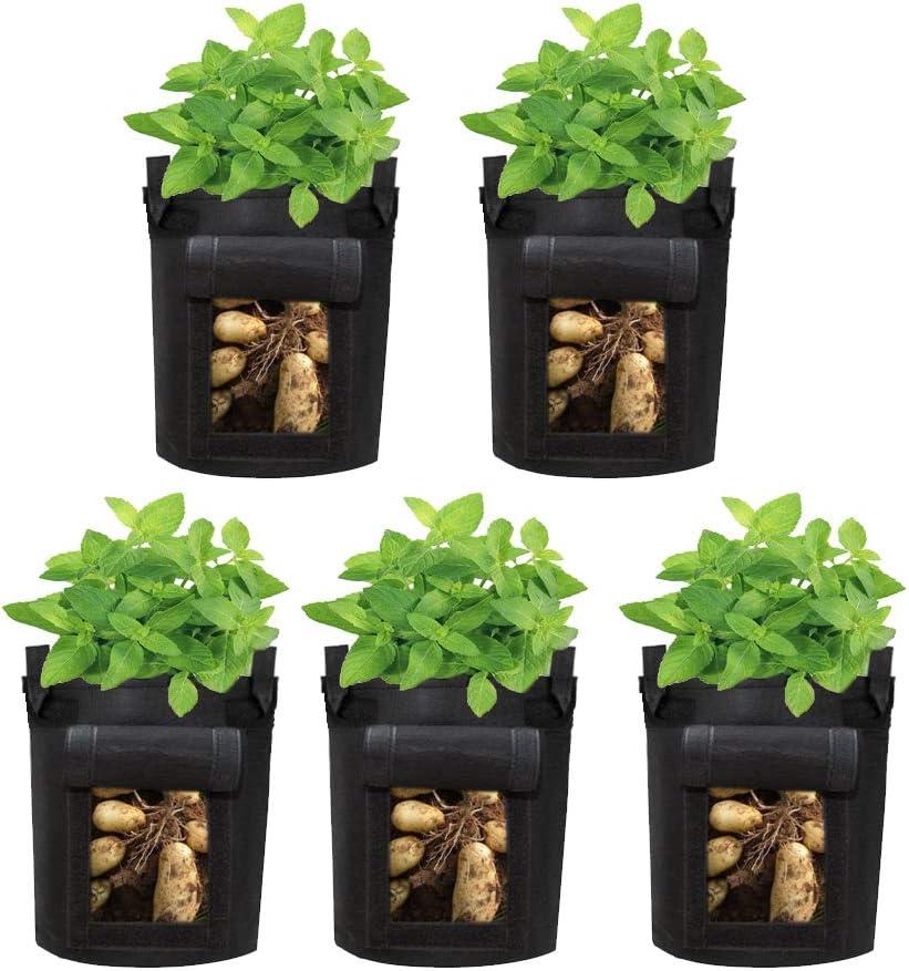 Himviod Planting Bag, Plant Growing Belt, Sweet Potato Planting Bag, Bag with Handle, Vegetable/Flower/Plant Non-Woven Planting Bag,5-Pack 5 Gallon