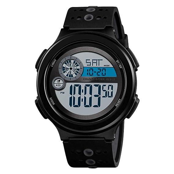 AchidistviQ-Sports - Reloj de Pulsera Digital electrónico con Pantalla de Fecha y dial Redondo, Color Negro: Amazon.es: Relojes