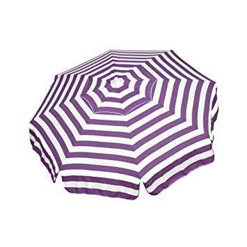 Heininger 1332 DestinationGear Italian Purple and White 6 Acrylic Striped Patio Pole Umbrella