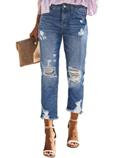 Ecupper Womens Low Waisted Knee Ripped Jeans Skinny Fit Denim Jeggings