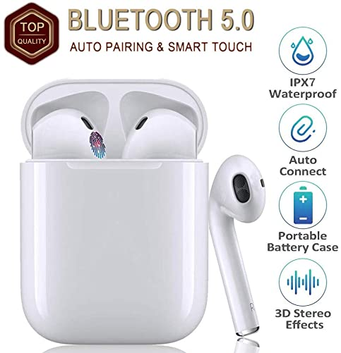 Bluetooth headset5.0, Touch in-Ear Headphones, TWS Wireless Headset, 3D Stereo Noise Cancelling Headphones, IPX7 Waterproof Sports Headphones, Binaural HD Call Microphone, Auto popup Pairing – White