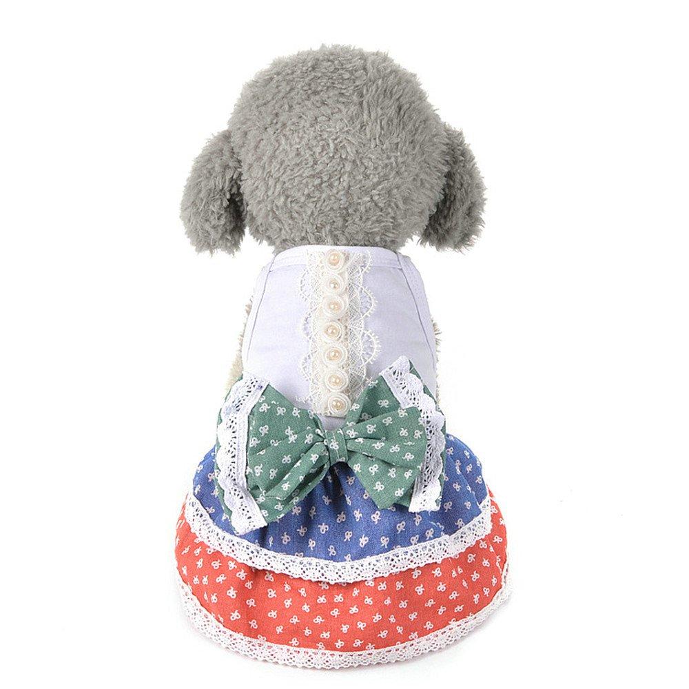 Pets Dresses,Small Dog Girl Dress Pet Puppy Cat Lace Tutu Bow Tutu Dress Lace Skirt Princess Pet Clothes Yamally White