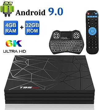 Android TV Box, T95X2 Android 8.1 TV Box 4GB RAM/64GB ROM Amlogic S905X2 Quad Core Soporte 2.4GHz/5.0Ghz WiFi Bluetooth 4.1 DLNA 3D 4K UHD Super Mini TV Box: Amazon.es: Electrónica