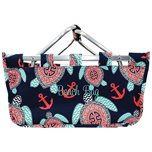 Collapsible Navy Blue Sea Turtle Market Basket Monogrammed ()