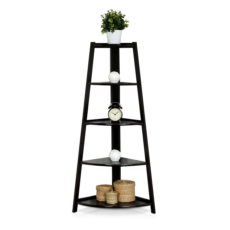 Amazon.com: Furinno FNAJ 11112 1 5 Tier Corner Ladder Garden Shelf,  Espresso: Kitchen U0026 Dining