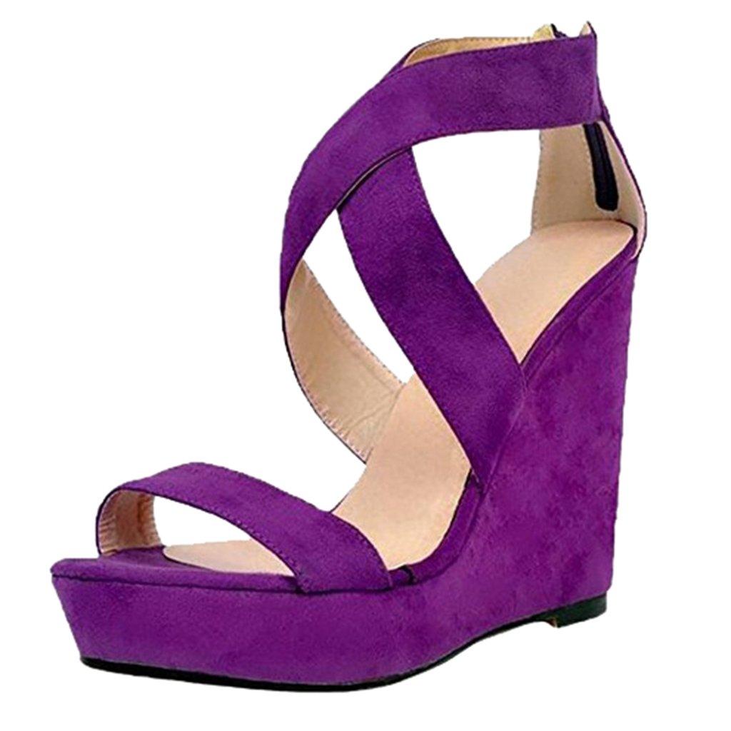 Purple Women's Wedge Sandals Purple shoes Cross Strap Platform Sandal Women's shoes Back Zipper(Heel Height  12-13cm)