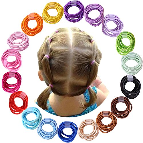 180pcs 2mm Mix Colors Baby Elastic Hair Ties Hair Bands Holders Headband Hair Accessories for Baby Girls Infants Toddlers