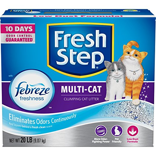 Fresh Step Multi-Cat Scented Litter with the Power of Febreze, Clumping Cat Litter, 20 Pounds - Litter Box Dust