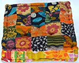 Aari Tari Stuffed Indian Vintage Kantha Patch Floor Cushion; Pouf Ottoman; Floor Pillow Yoga Pillow