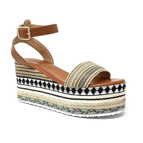 Chaussure Sandale Grosse Mode Folk Espadrille Angkorly Plateforme TJcu1lFK3