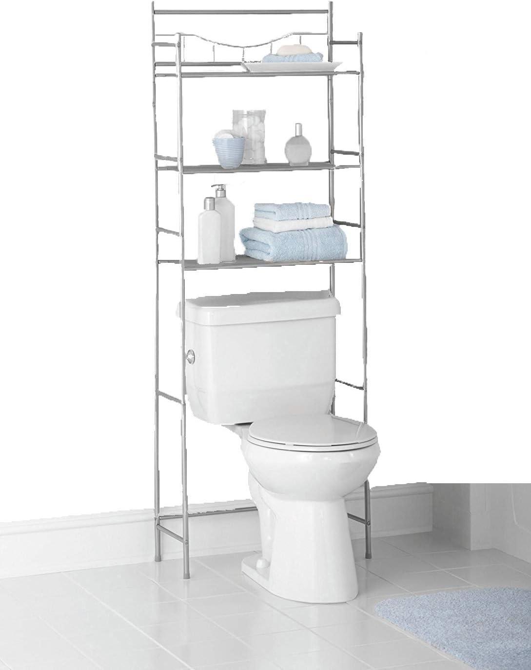 Amazon Com Mainstays 3 Shelf Bathroom Space Saver Satin Nickel Home Improvement