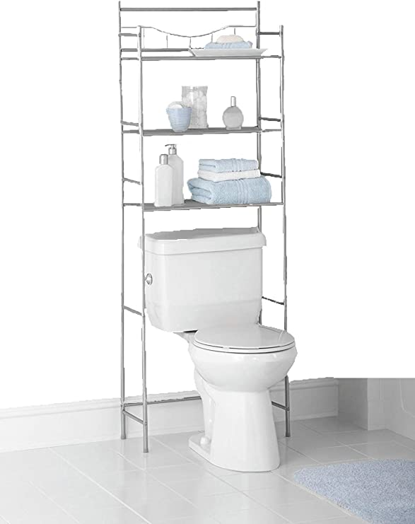 Mainstays 3-Shelf Bathroom Space Saver, Fits Most Standard Toilets (1,  Satin Nickel Finish)