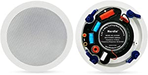 Herdio 5.25 Inches in Ceiling Wall Flush Mount Speakers 8Ohm 300 Watts Peak with Spring Loaded Speakers Terminal Easy Installation for Home Theater Office Hotel Restaurant (1 Pair)