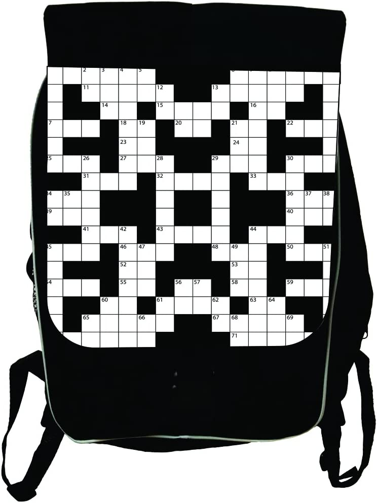 Black School Backpack /& Pencil Bag Black and White Crossword Puzzle