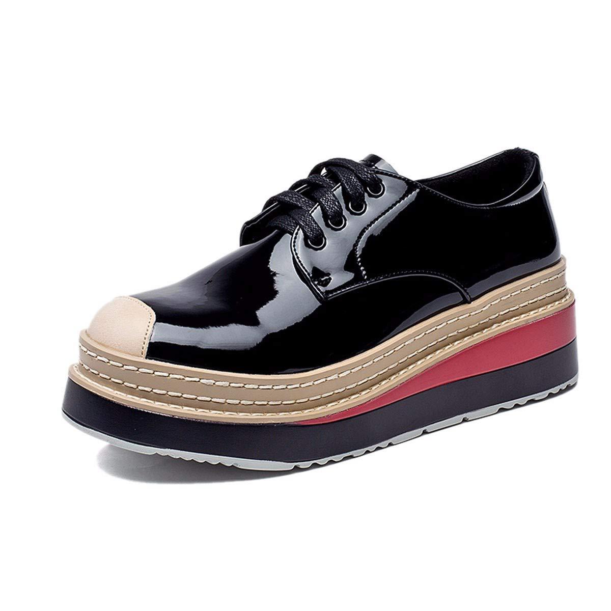 KPHY Damenschuhe Lack - Muffin - Schuhe Mit Hohen 6 cm Dick Square Kopf Unten Freizeit Slope Bei Einzelnen Schuh.