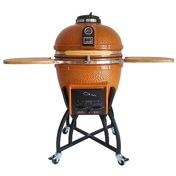 Kamado – Barbacoa de carbón vegetal de cerámica profesional en naranja con grill Cover