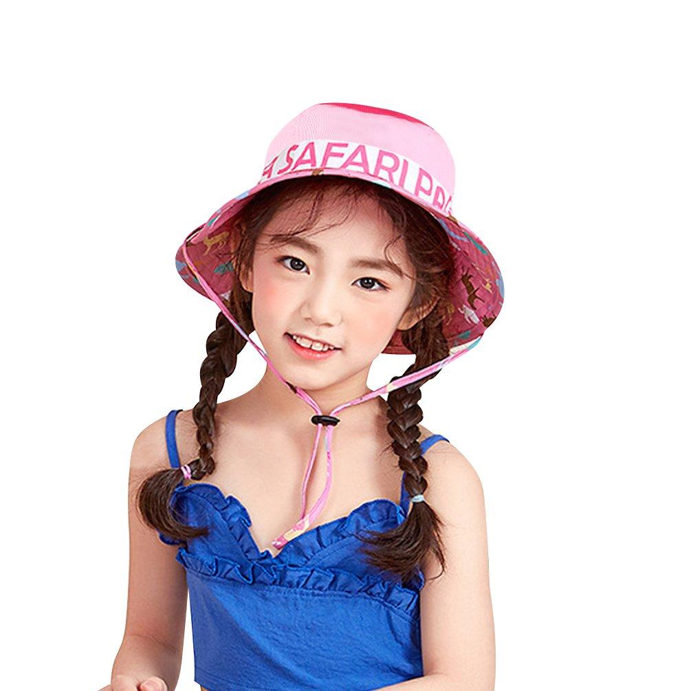 VBIGER Chapeau de Pêche de Plage de Melon Garçon Fille Chapeau solaire pliable avec Mentonnière Réglable et Motif de dessin animé mignon (Rose)