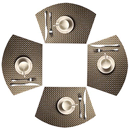 SHACOS 4 PCS Wedge Placemats for Round Tables Heat Resistant Table Mats Placemats Washable (4, Black White Gold) for $<!--$11.98-->