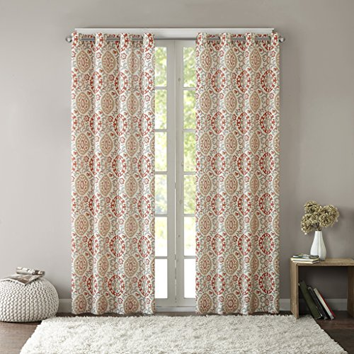 Intelligent Design Coral Grommet Curtains for Living Room, Global Inspired Fabric Window Curtains for Bedroom Family Room, Seville Print Living Room Curtains, 50x63, 1-Panel Pack