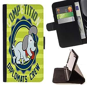 King Case - FOR Samsung ALPHA G850 - care of the dog - Prima caja de la PU billetera de cuero con ranuras para tarjetas, efectivo Compartimiento desmontable y correa para la mu?eca