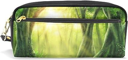 Nature Forest - Estuche de piel con cremallera para niños, color verde: Amazon.es: Oficina y papelería
