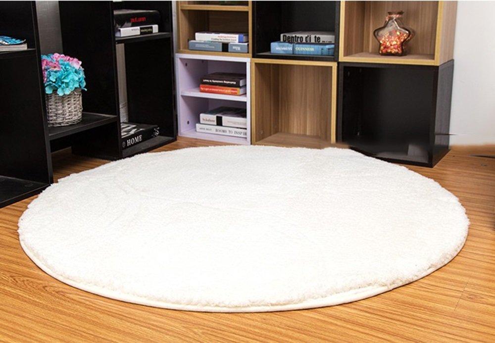 Weicher Faserbaumwollteppich, voller Fußbodenwohnzimmerteppich, Sofacouchtisch-Schlafzimmerbettwollteppich (Farbe   Weiß, größe   160cm)