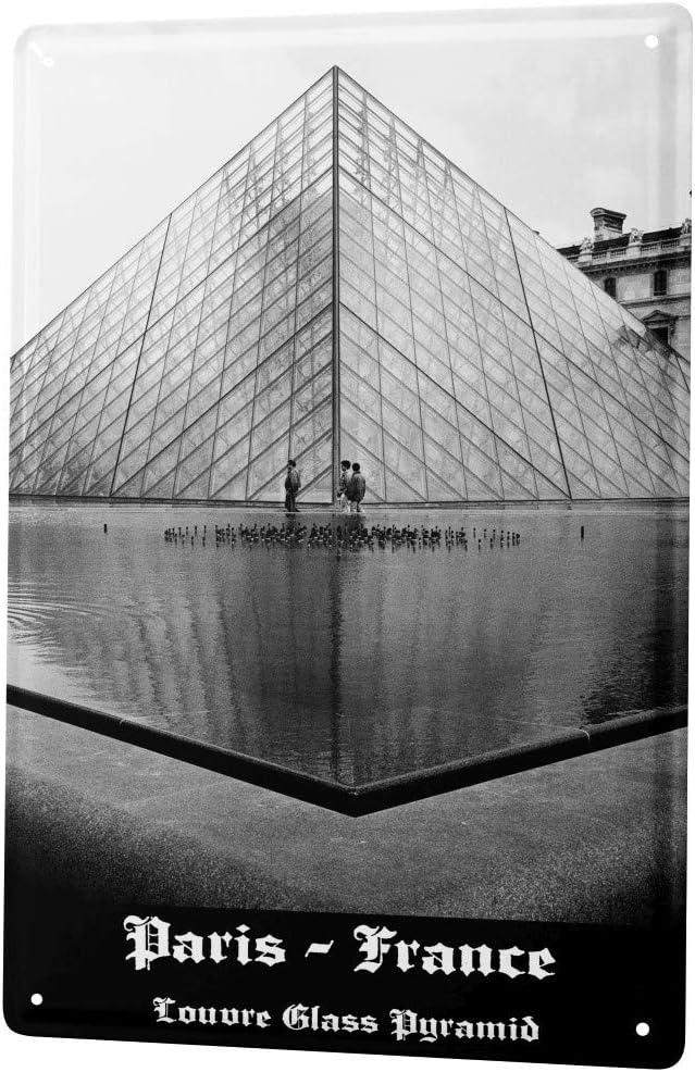 LEotiE SINCE 2004 Tin sign Dave Butcher knows black photo France Paris museum of Louvre glass of pyramid 20x30 cm Large Metal Wall Decoration Vintage Retro Classic Plaque