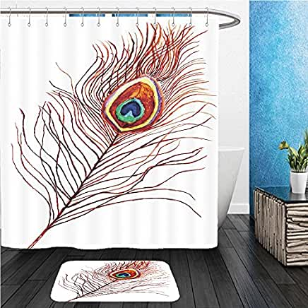 Peacock Feather Shower Curtain Mat Set