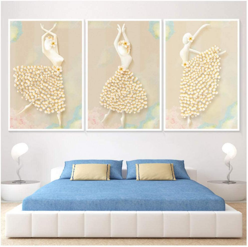Bailarines de ballet europeos nórdicos simples HD imprimircuadrosdecorativos triplespintados en lienzo cuadros para dormitorio-50x70cmx3 Sin marco