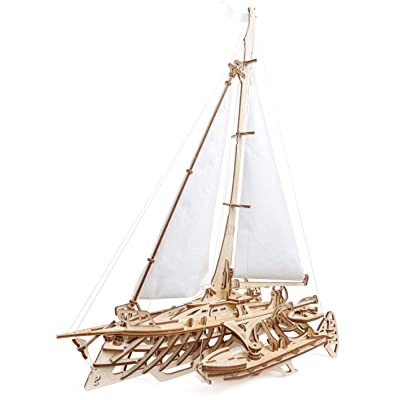 Ugear Trimaran Merihobus Sailboat, No Glue Required: Toys & Games