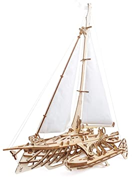 UGears 70059 3D Trimaran Merihobus Ship Sailing Boat Wooden Puzzle Model  Building Set Thinking Game DIY Puzzle Learning Toy Model Kit Wooden