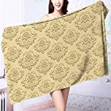 PRUNUS Luxury Elegant Bath Towels Regular Damask Patterns Islamic Antique Lace Floral Patterns Oriental Style Decorative Art Beige Luxury Hotel & Spa Towel