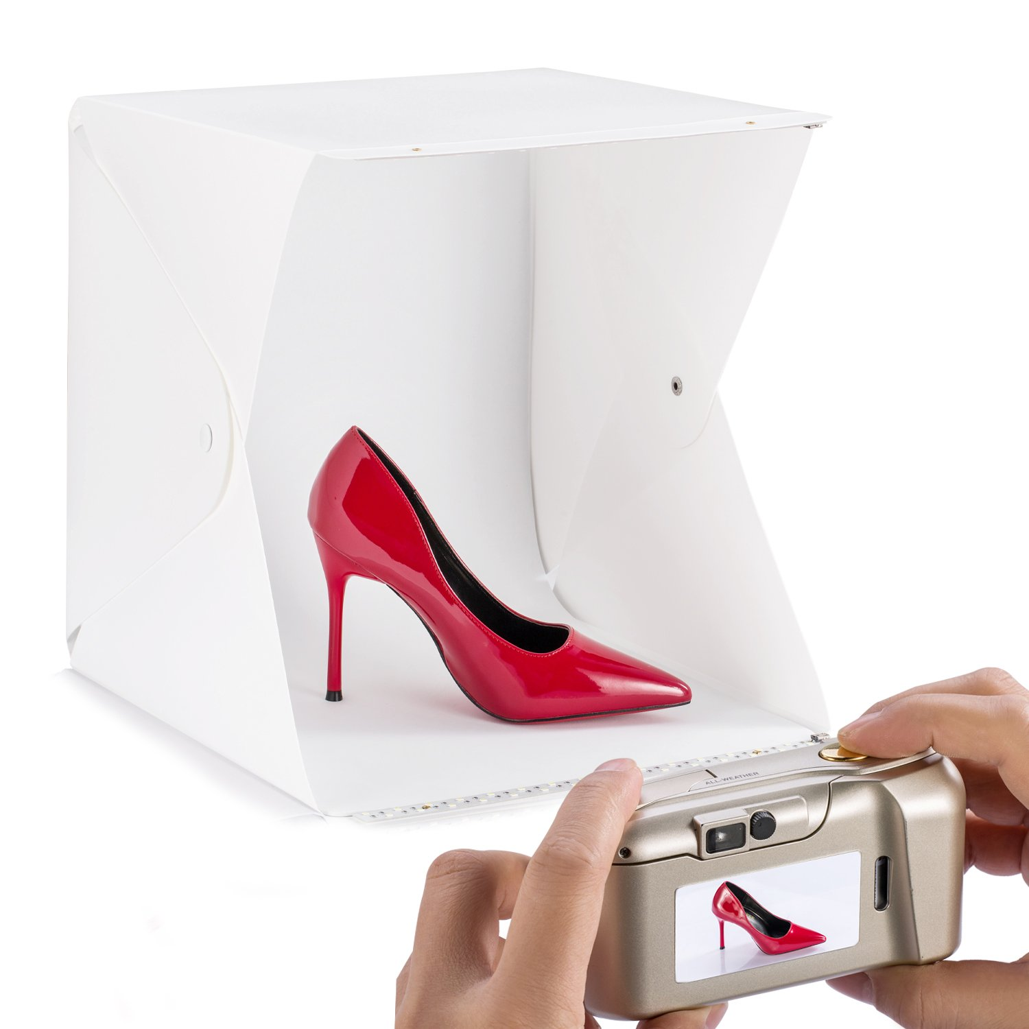 60 LED Photo Light Box For Jewellery and Small Items (Size 12 x 12 x12''/30 x 30 x30cm) with Two Backdrops